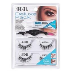 Ardell Deluxe Pack Wispies 2 pary sztucznych rzęs na pasku Ardell +klej DUO +aplikator